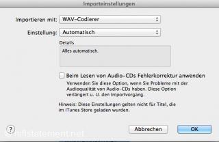Beim Import über iTunes sollte das Häkchen bei der Fehlerkorrektur nicht gesetzt sein. Im ersten Feld kann man zwischen den von Apple angebotenen Codecs auswählen