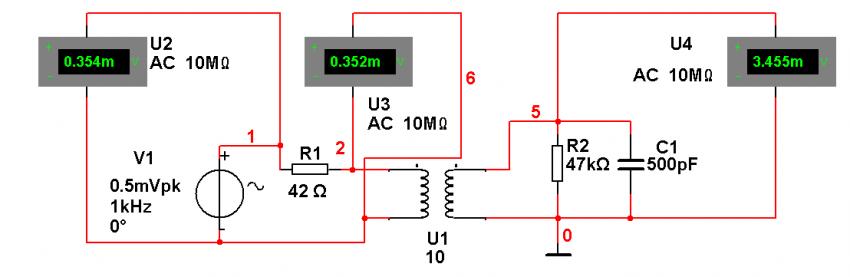 Bild 8: Simulation von Übertrager mit Denon DL103