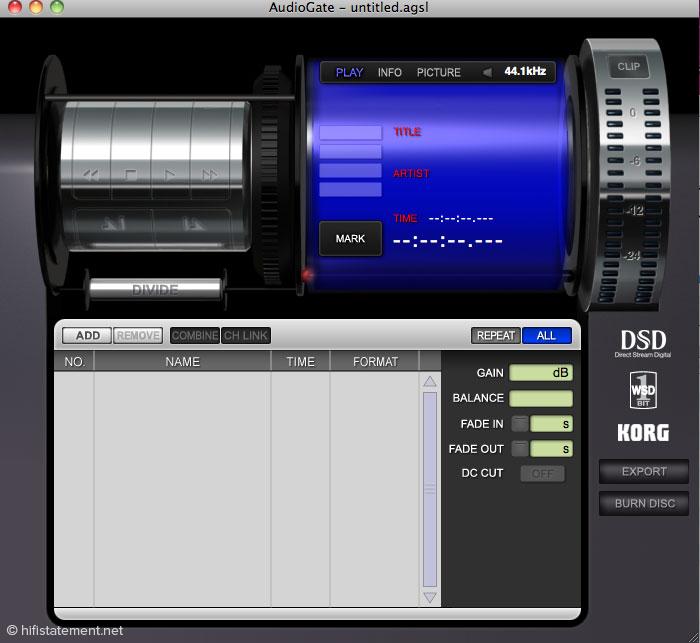 Der Screenshot zeigt die Benutzeroberfläche der von Korg kostenlos angebotenen Software AudioGate, die Up- und Down-Sampling sowie Konvertierungen zwischen DSD und PCM erlaubt