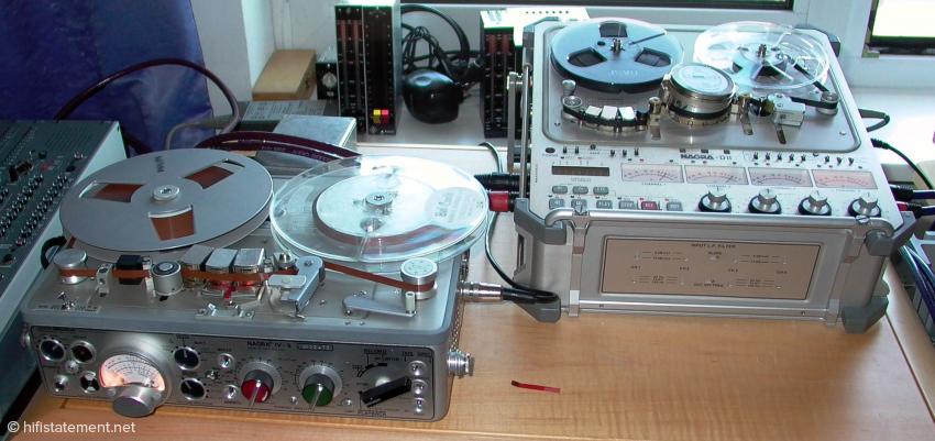 Zwei Modelle, die Geschichte schrieben (hier im Hörraum des Autors): Die analoge Nagra IV-S, die mit bis zu 38cm/sek lief und Sendequalität garantierte, und die Nagra DII, eine digitale Vierspur-Bandmaschine