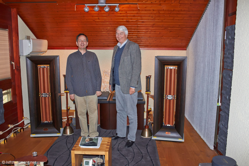 The author and Serge Schmidlin in the sacred hall. In this picture, the listening room seems smaller than it actually is.