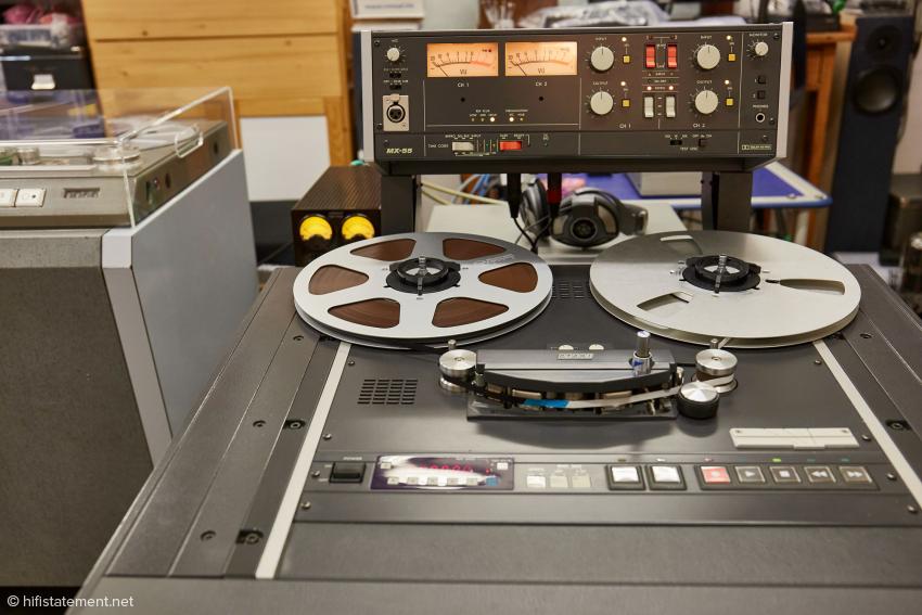 Für eine 1:1-Kopie, also bei 38 cm/sec auf das Studio Master 468 Tonband, steht diese Otari MX-55 bereit