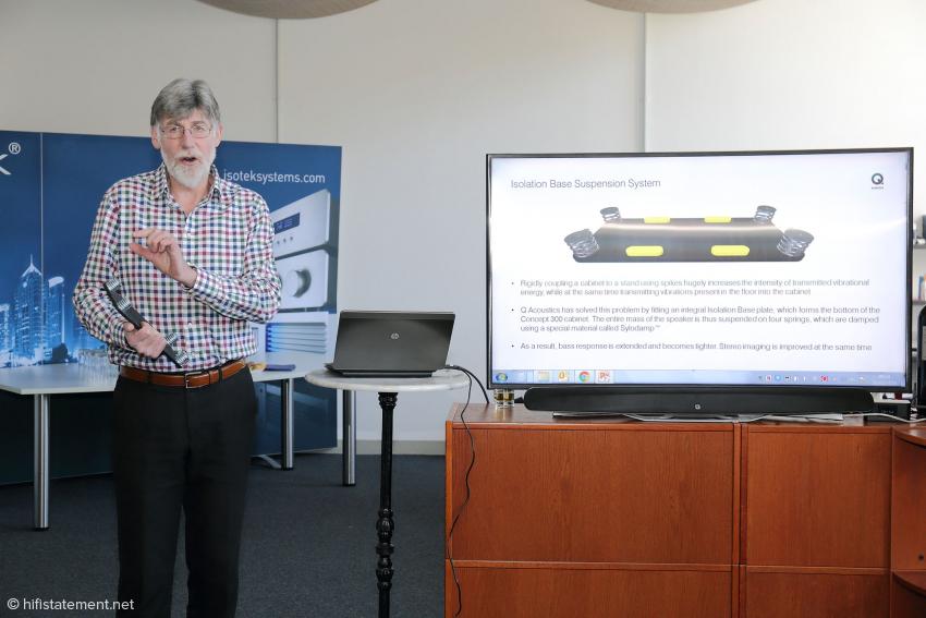 Alex Munro beschreibt die Wirkung der Isolation Base, die unsichtbar im Gehäuse integriert ist