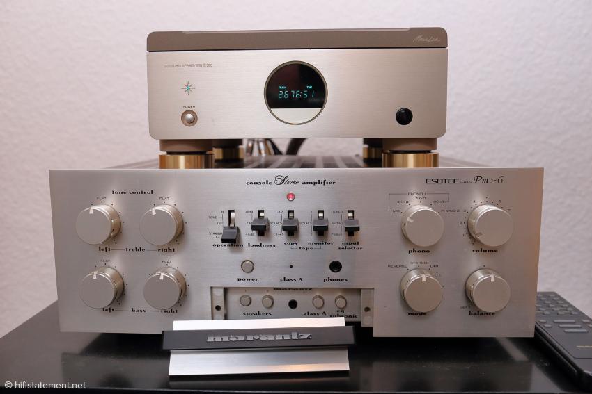 Dieses Duo kann Begehrlichkeit wecken: Ein Marantz Pm-6 aus der Esotec-Serie mit MC/MM-Eingang und der heute sehr rare Marantz CD-Player CD-23 mit dem legendären Philips CDM 1 MK2 Laufwerk. Der Pm-6 wäre für 1200 Euro zu haben