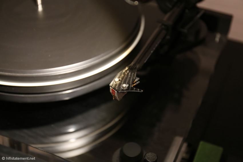 An EMT cartridge is mounted to the headshell of the Pro-Ject, one of Lars Kristensen's favorite pickups