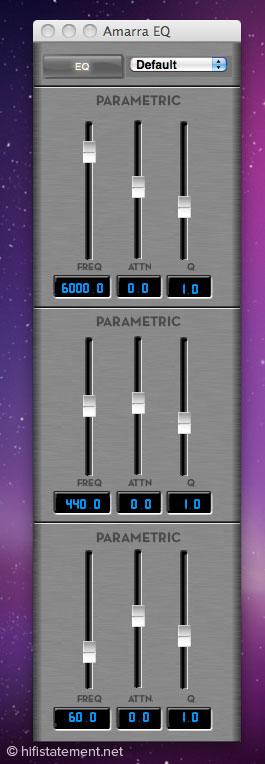 Amarra bringt auch einen dreibandigen parametrischen Equalizer aus der Mastering-Technik mit, mit dem Raummoden einfach in den Griff zu bekommen sind