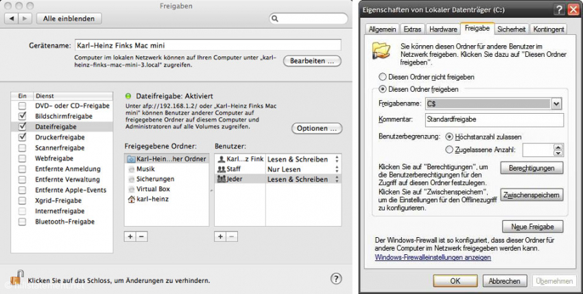 Ohne Stress (links): Der Mac erlaubt, mit nur wenigen Klicks gespeicherte Musikdateien von außen zugänglich zu machen. Auch nicht schwer (rechts): Unter Windows reicht ein Rechtsklick mit der Maus auf einen Ordner um die Freigabeeinstellungen zu erreichen.
