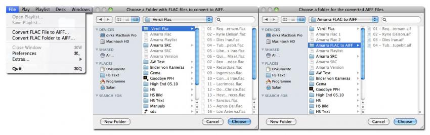 Amarra wandelt nun einzelne Flac-Datein oder ganze Ordner mit diesen ins AIFF-Format. Die Auswahl erfolgt in Finder-Fenstern. Es ist sinnvoll, für die gewandelten Dateien einen eigenen Ziel-Ordner anzulegen