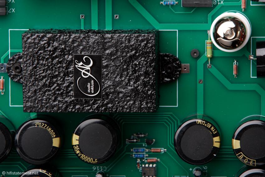 Die vergossenen X-Module enthalten parallel geschaltete Kondensatoren verschiedener Bauart: die einzige Kapazität im Signalweg