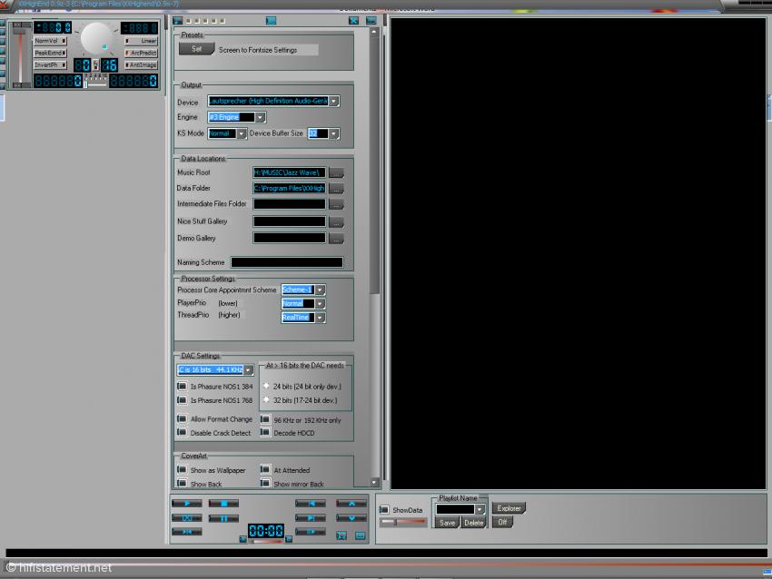 Bild 01: XXHighEnd 0.9z-3· – Bedienungsfelder für Voreinstellungen