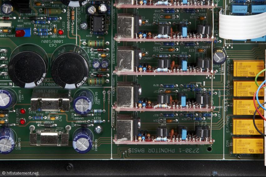 Im Phonitor sind insgesamt neun dieser sogenannten SUPRA Operationsverstärker verbaut. Die diskret aufgebauten OPs werden mit 120 Volt gespeist