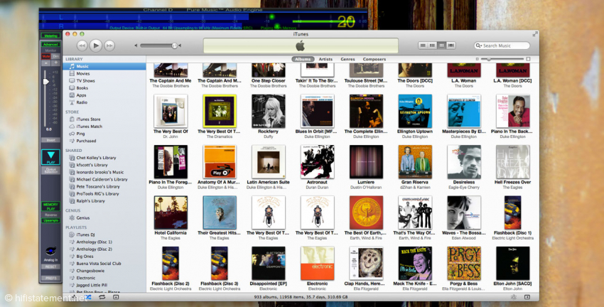 Pure Music dockt oben an iTunes an. Bei der integrierten Level-Anzeige ist die Dynamic Range-Funktion eingeschaltet. Alles zwischen 18 und 21 ist gut. Aber meist wird man sehen, wie stark die dynamische Bandbreite beim Mastering limitiert wurde