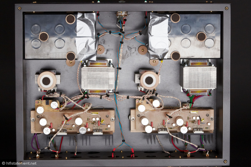 The guts of the amplifier look very little like conventional equipment.