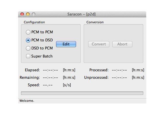 """Hier ist die Umrechnung von PCM auf DSD möglich. Über die """"Edit""""-Taste gelangt man zu einem Fenster, in dem sich gewünschten Parameter einstellen lassen"""