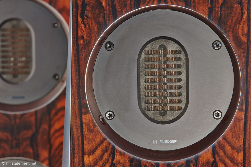 One can clearly see the folded diaphragm of the AMT tweeter. When in action, the motion is from like that of an accordion