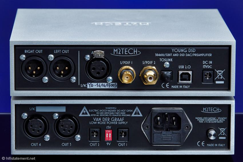 Der Young (oben) besitzt nur XLR-Ausgänge, für unsymmetrische Verbindungen wird ein Adapter mitgeliefert
