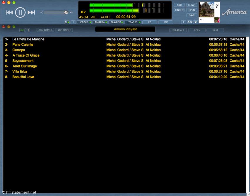 Das Amarra Window und die Playlist lassen sich koppeln, so dass sie gemeinsam auf dem Desktop platziert werden können. Im Fester wird auch das Cover angezeigt
