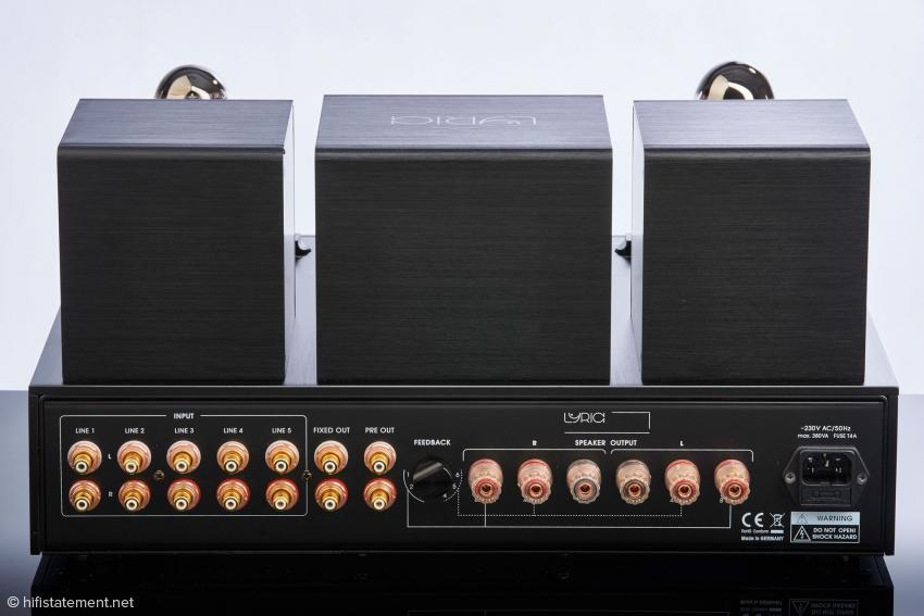 Fünf Eingänge sollten genügen, optional kann der Verstärker mit einem Pre-Out für einen Subwoofer und einem Tape-Out für den Anschluss einer Tonbandmaschine geordert werden