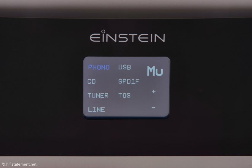Das Touch Panel, erlaubt eine komfortable Bedienung für Eingangswahl und Lautstärke. MU zeigt an: der Verstärker ist stumm geschaltet