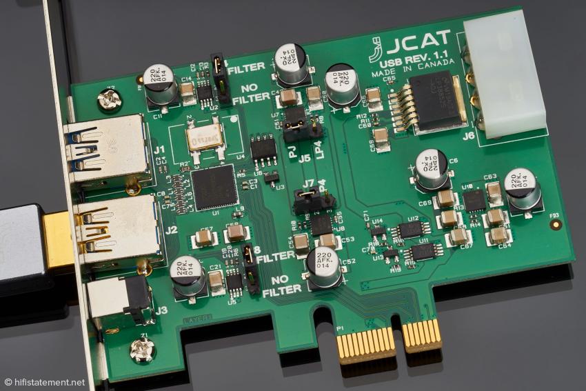 Hoch optimierte JCAT USB Card zur Auskopplung des USB-Signals aus einem PC