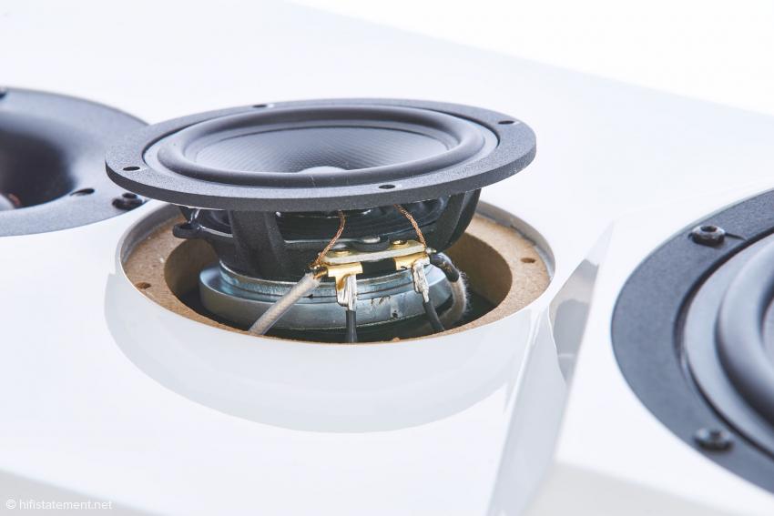 Einer von zwei ScanSpeak-Mitteltönern mit Neodym Magnet in D´Appolito-Anordnung; gut sichtbar auch hier die Solid Core Verkabelung von Swisscable