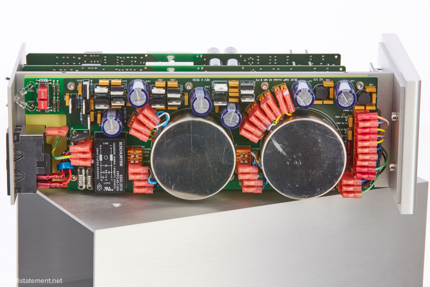 The power supply board of Model 42 with mains filter and two encapsulated power transformers