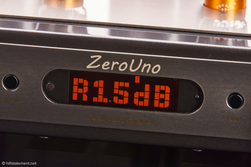 Das Display des ZeroUno mit Balance-Einstellung für den rechten Kanal