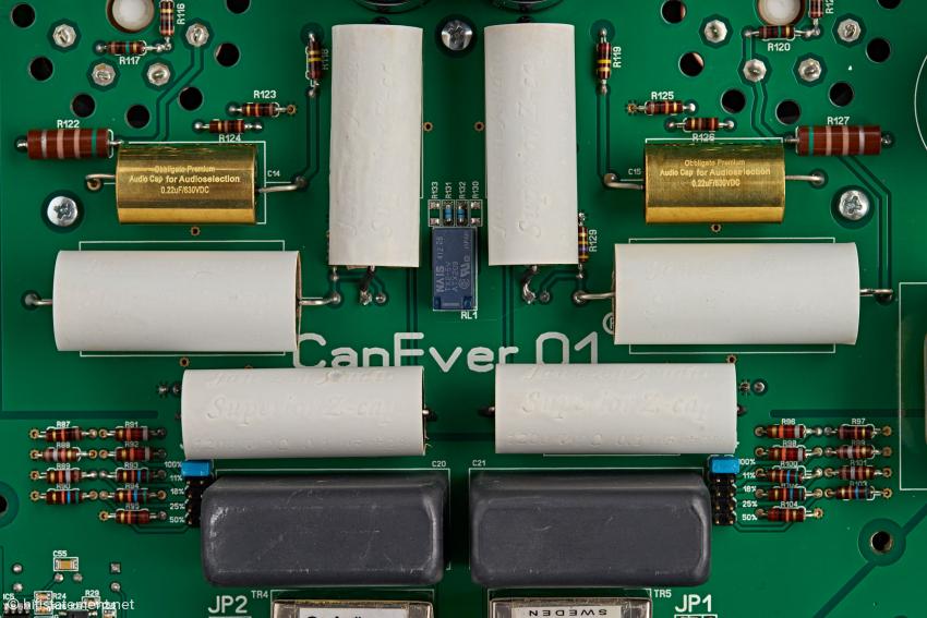 Eine wahre Sammlung von audiophilen Kondensatoren in der Röhrenausgangsstufe
