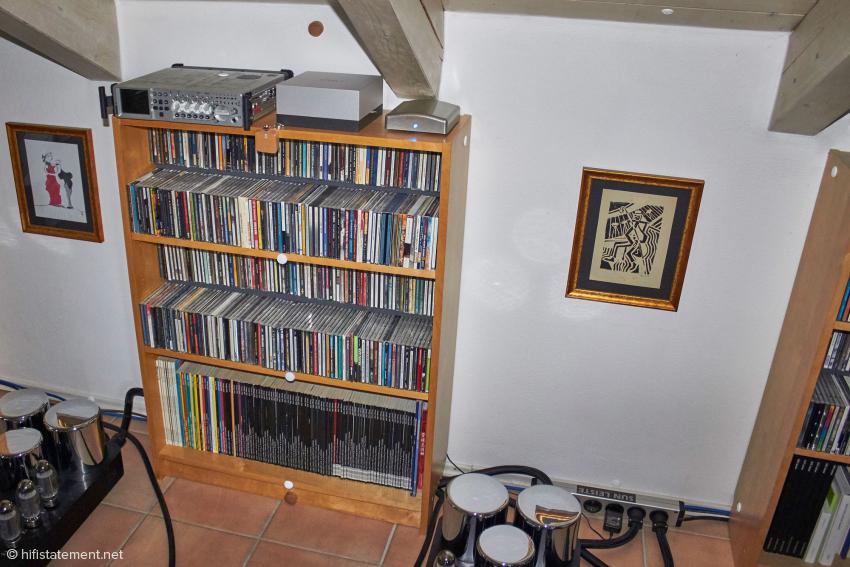 Die Bretter des mittleren Regals wurden ebenso wie die der Beginn der Dachschräge mit Disks bestückt