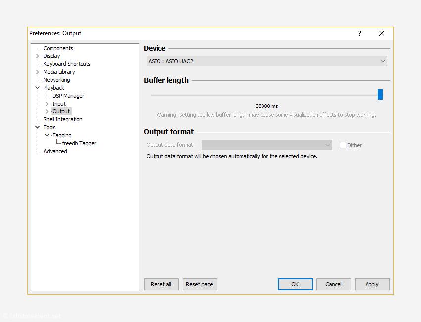 Um den UAC 2-Betrieb anwählen zu können, muss in Foobar2000 oder JRiver der Treiber und nicht das eigentliche Gerät als Output-Device ausgewählt werden