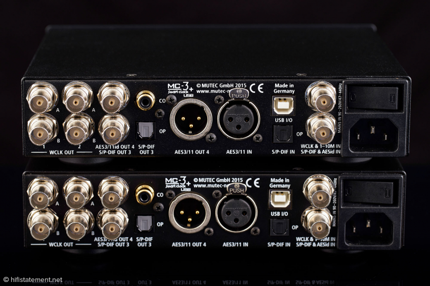 The MC-3+USB's rear panel is completely filled with various inputs and outputs
