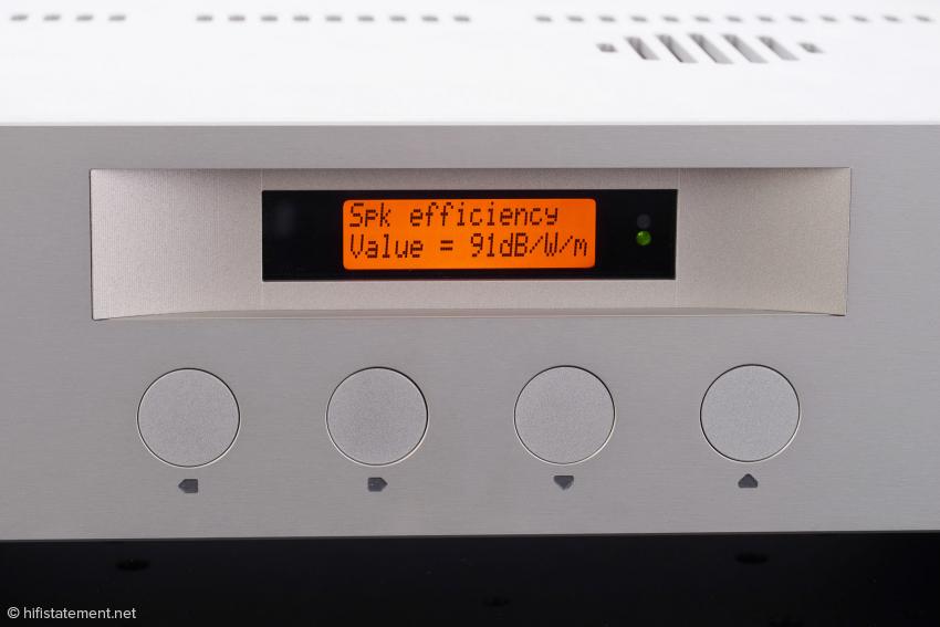 Der Wirkungsgrad des Lautsprechers soll eingegeben werden, um eine perfekte Loudness-Funktion zu gewährleisten