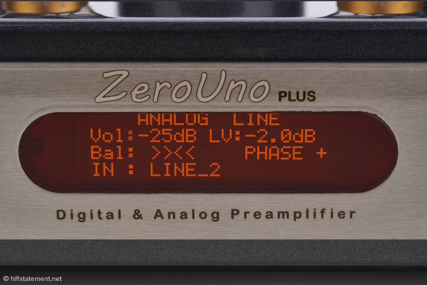 Die Anzeige für den Analogteil: Lautstärke (Vol) -25 dB, Pegelregelung (LV) -2,0 dB, Balance beide Kanäle gleich, absolute Phase nicht invertiert und gewählter Eingang Line 2