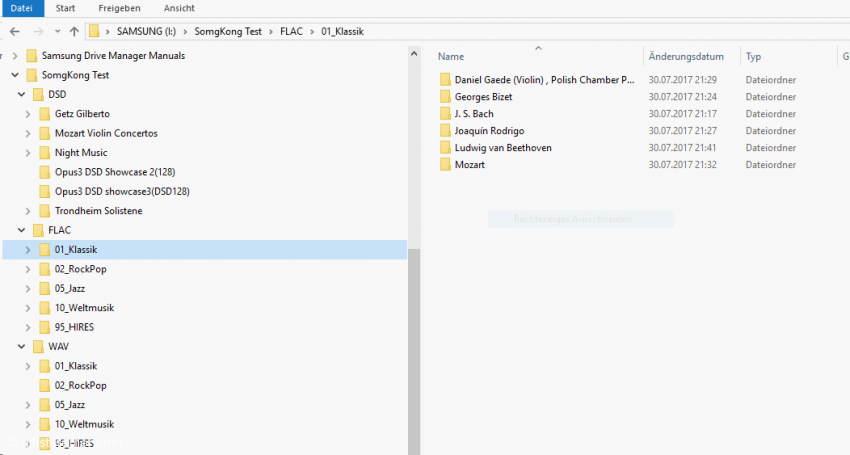 Die Test-Musikbibliothek mit den Datei-Formaten WAV, FLAC und DSD-DSF