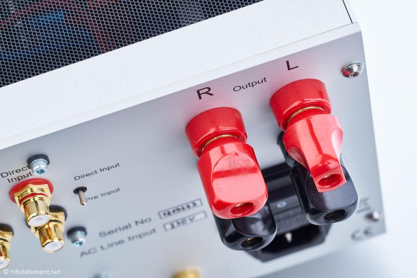 In Anbetracht der höheren Ausgangsleistung sind die Lautsprecherklemmen mitgewachsen. Bildlich gesprochen