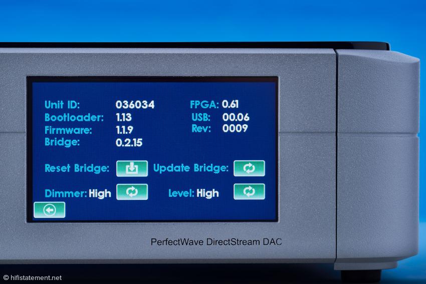 Nach Berühren des kleinen Zahnrads in der oberen linken Ecke des Touch Screens werden die aktuellen Daten des DirectStream angezeigt
