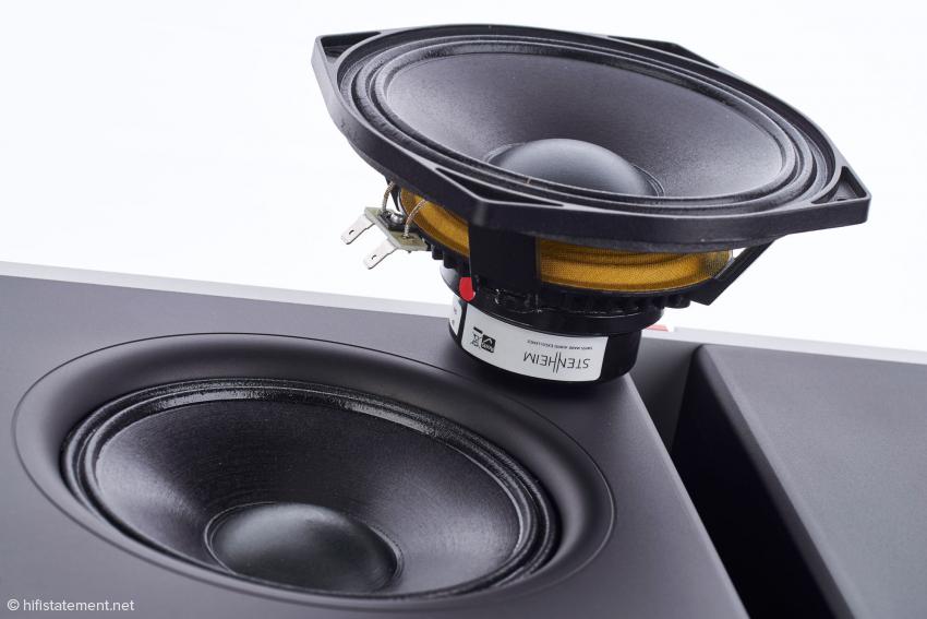Den Mitteltöner zeichnet ein Wirkungsgrad von 95 Dezibel aus. Rechts die frontseitige Öffnung der Bass-Kammer