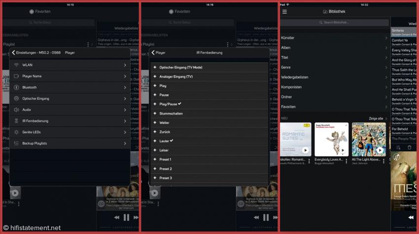Die hier zusammengestellten Screenshots lassen die Vielfältigkeit der Einstellungen in BluOS erahnen. In der Praxis erweisen sich die als sehr logisch und nützlich