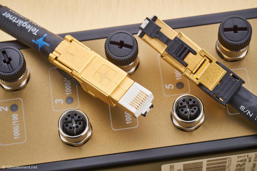 Die Telegärtner-RJ45-Stecker – hier mit goldfarbenem Gehäuse – sind auch bei den Top-Kabeln anderer Hersteller Standard