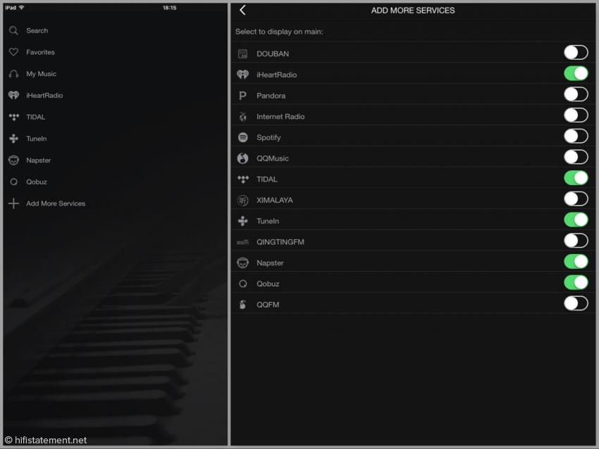 Auf dem iPad2 wird die Auswahl der Musik-Quellen so abgebildet