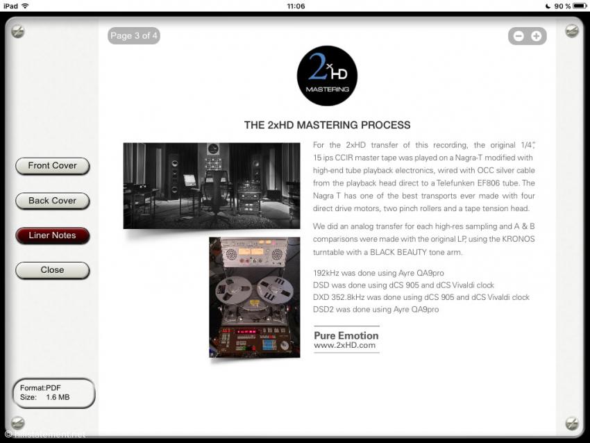 Ansicht der Liner Notes auf dem iPad