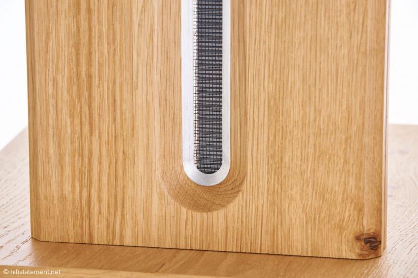 Perfektion im Detail: Das ins Gehäuse eingefräste Hochton-Bändchen für den Mittel-Hochtonbereich