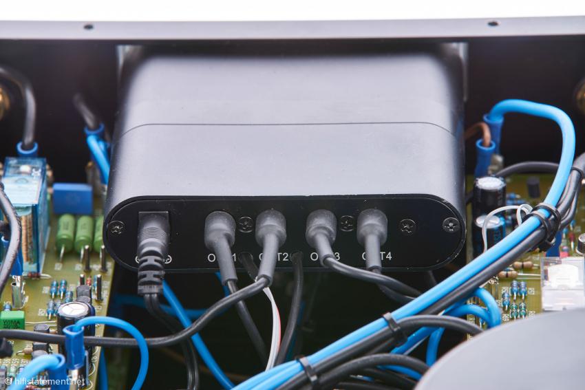 Hinten in der Mitte des Vollverstärkers befindet sich das Mini-DSP-Modul DDRC-24