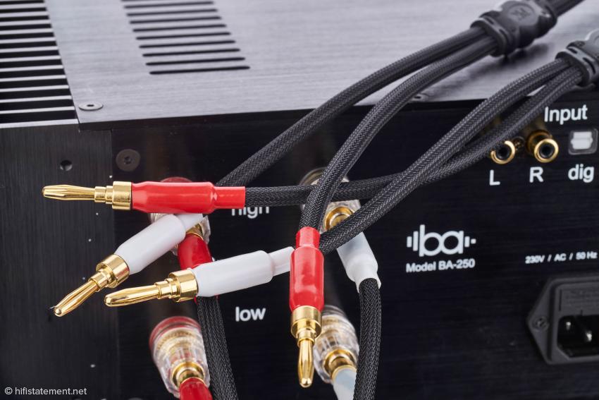Die Lautsprecherkabel zur Ansteuerung der Tief- und Hochtöner gehören zur Serienausstattung