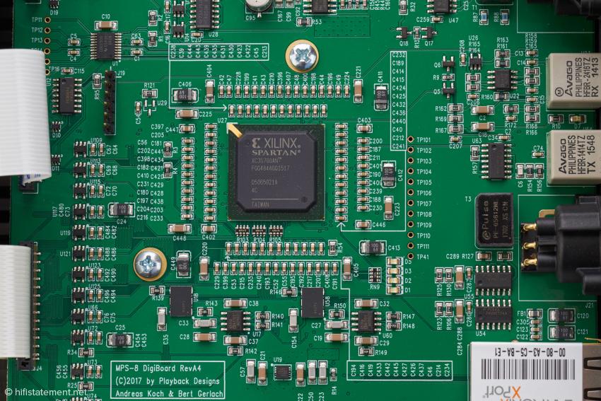 Einer der beiden FPGAs auf dem Digitalboard, der zweite wird in der Gesamtansicht vom Streaming-Modul verdeckt