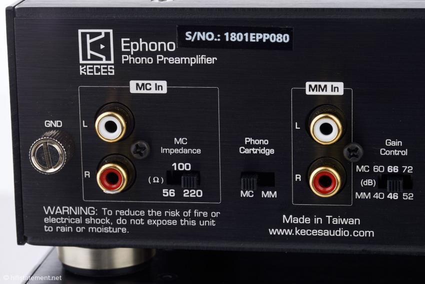 Die Verstärkung ist sowohl für MM- als auch MC-Systemen in drei Sechs-Dezibel-Schritten wählbar. Die drei Abschlussimpedanzen liegen zwischen 56 und 220 Ohm. Für EMT-Derivate würde ich mir einen höheren Wert wünschen