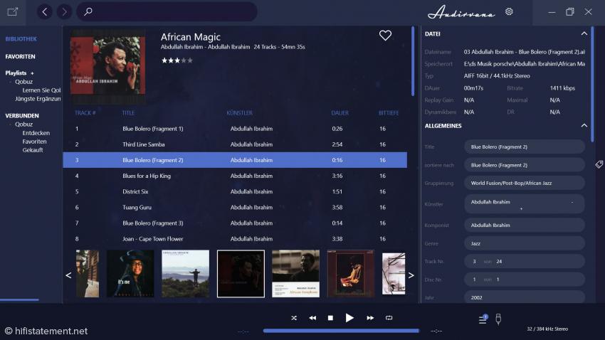 Wieder zurück bei Audirvana für Windows: rechts in der Leiste können die Tags für den Track editiert werden