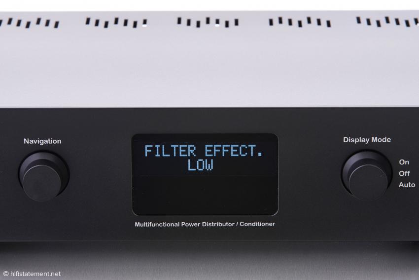Die Effektivität der Filterung kann man in zwei Stufen oder automatisch einstellen