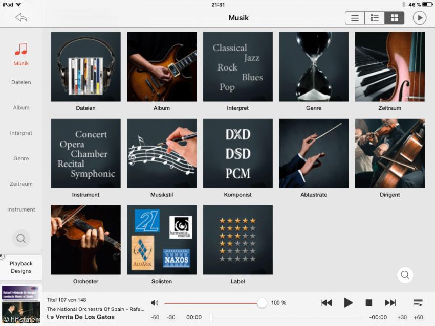 Die JRemote App-Oberfläche mit den vorkonfigurierten Ansichten der Musikbibliothek