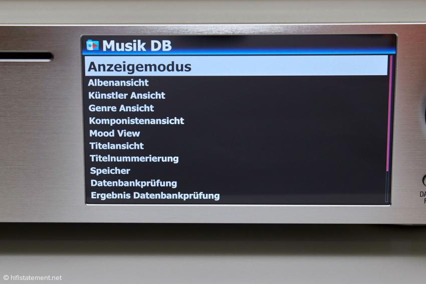Optionen für die Musik-Datenbank